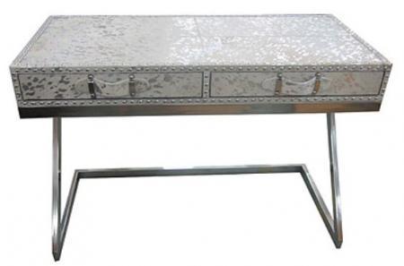 Casa Padrino Designer Schreibtisch Mit 2 Schubladen Silber