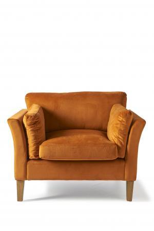 rivi ra maison forsyth love seat velvet pumpkin in. Black Bedroom Furniture Sets. Home Design Ideas